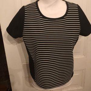 EUC Size Medium Black & White Striped Shirt
